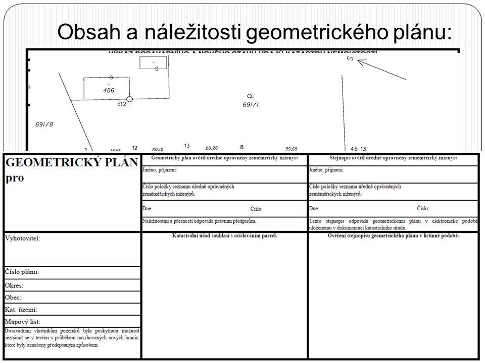 Obsah a náležitosti geometrického plánu:  Geometrický plán se vyhotovuje v elektronické podobě; pro účely vyhotovení listiny se v případě potřeby vyh