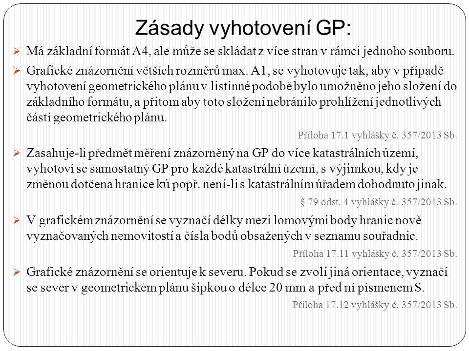 Podklady pro vyhotovení GP:  Závazným podkladem pro vyhotovení geometrického plánu jsou údaje SGI a SPI.