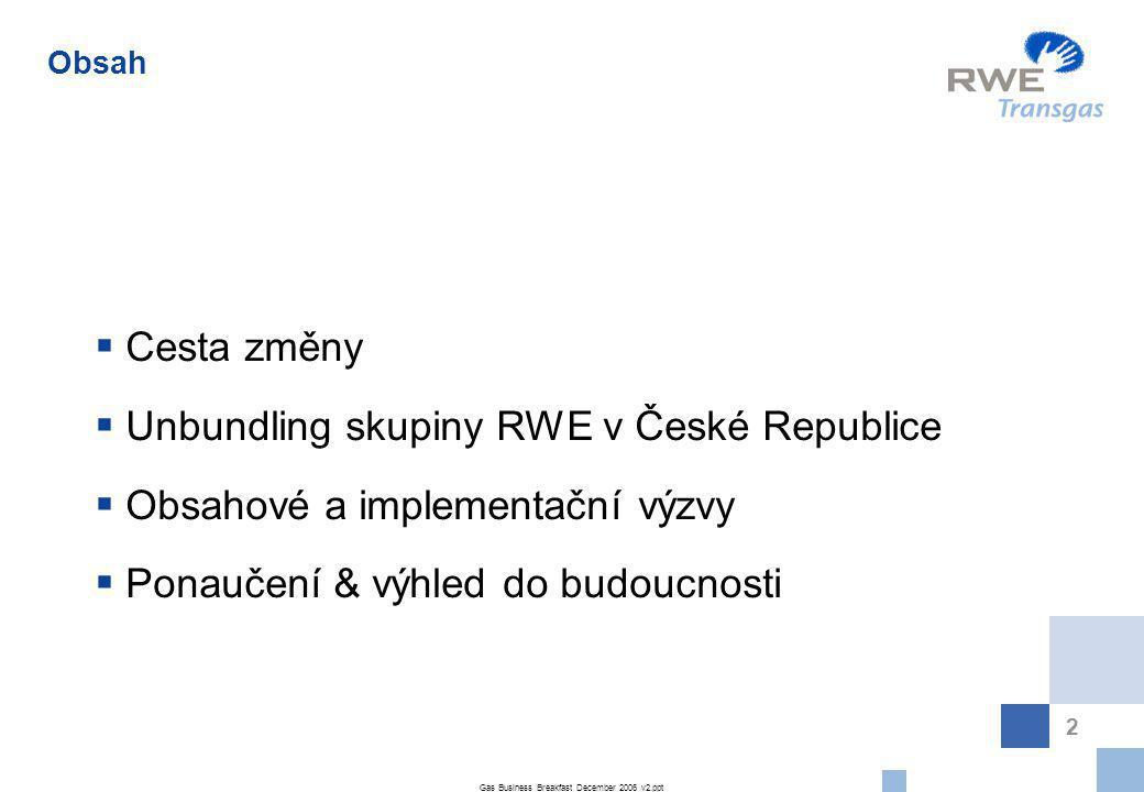 Gas Business Breakfast December 2006 v2.ppt 3 Trh se zemním plynem v České Republice ve kterém má skupina RWE dominantní postavení byl konfrontován s podmínkami právního unbudlingu Většinový podíl RWE (říjen 2006) – Rozsah Právního Unbundlingu – RWE Transgas  Dovoz zemního plynu  Prodej zemního plynu regionálním distribučním společnostem  Provozování zásobníků  Řídící role RWE CZ Group  Mezinárodní transport (transit)  Národní transport (transport) 6 Regionálních Distribučních Společností (RDS)  Prodej plynu konečným zákazníkům  Více než 2.2 miliony zákazníků  RDS podíl trhu ~ 84%  Provoz distribuční soustavy Cesta Změny Source: RWE Transgas ZČP JČP JMP SMP VČP STP SČP PP RWE Transgas DSO TSO