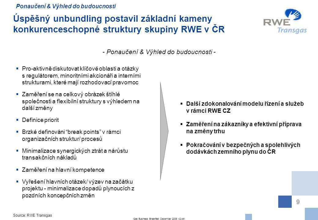 Gas Business Breakfast December 2006 v2.ppt 9 Úspěšný unbundling postavil základní kameny konkurenceschopné struktury skupiny RWE v ČR - Ponaučení & V