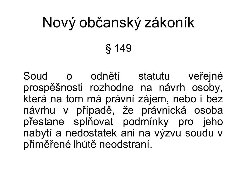 Nový občanský zákoník § 150 Jen právnická osoba, jejíž statut veřejné prospěšnosti je ve veřejném rejstříku zapsán, má právo uvést ve svém názvu, že je veřejně prospěšná.