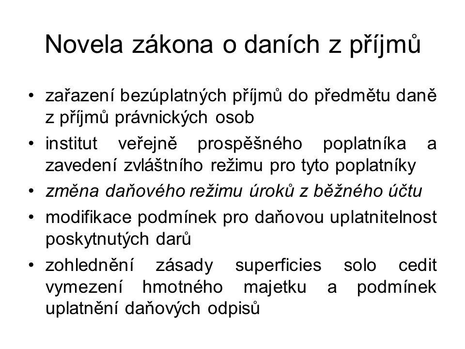 Novela zákona o daních z příjmů Osvobození bezúplatných příjmů od daně Příjem z dědictví nebo odkazu Příjem veřejně prospěšného poplatníka se sídlem na území České republiky, pokud je nebo bude využit pro účely vymezené v § 15 odst.1 nebo § 20 odst.8 ZDP nebo na jeho kapitálové dovybavení (nutno uplatnit v DP) Příjem plynoucí do veřejné sbírky, na humanitární nebo charitativní účel Příjem plynoucí z veřejné sbírky