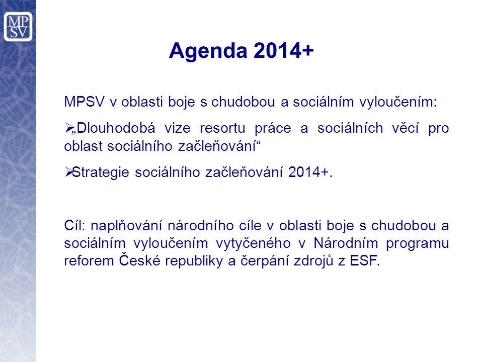 """Agenda 2014+ MPSV v oblasti boje s chudobou a sociálním vyloučením:  """"Dlouhodobá vize resortu práce a sociálních věcí pro oblast sociálního začleňování  Strategie sociálního začleňování 2014+."""