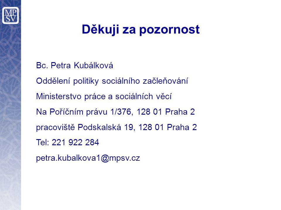Děkuji za pozornost Bc. Petra Kubálková Oddělení politiky sociálního začleňování Ministerstvo práce a sociálních věcí Na Poříčním právu 1/376, 128 01