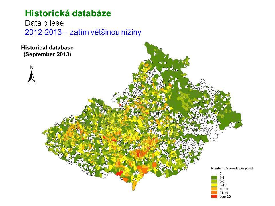Historická databáze Data o lese 2012-2013 – zatím většinou nížiny