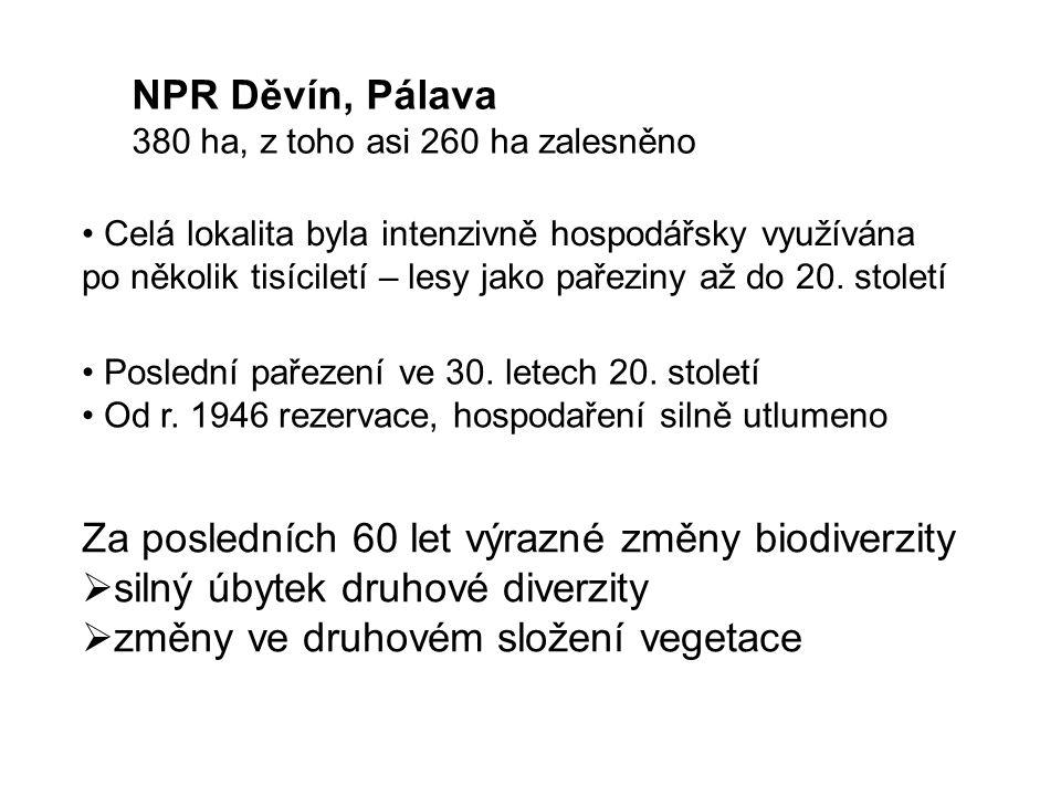 NPR Děvín, Pálava 380 ha, z toho asi 260 ha zalesněno Celá lokalita byla intenzivně hospodářsky využívána po několik tisíciletí – lesy jako pařeziny až do 20.
