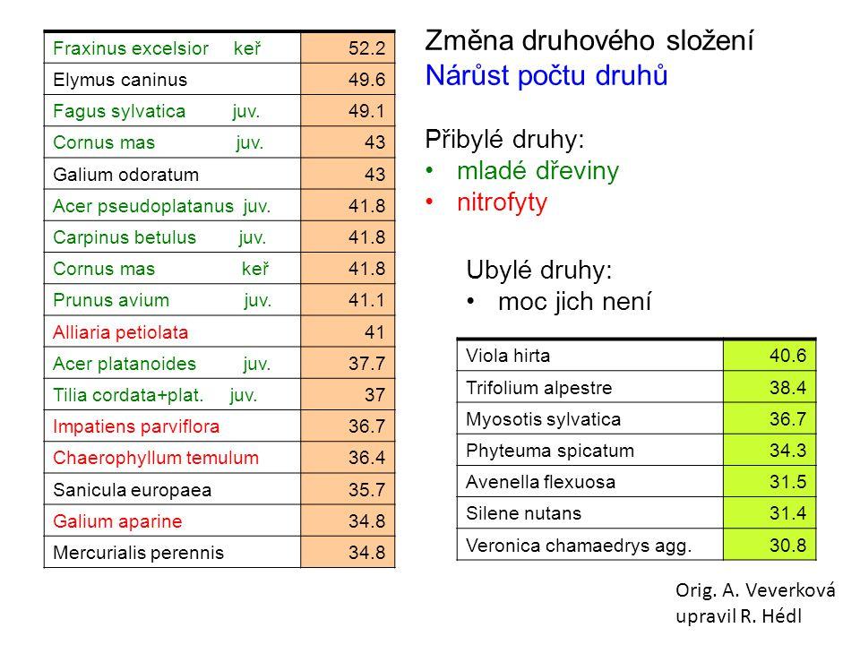 Fraxinus excelsior keř52.2 Elymus caninus49.6 Fagus sylvatica juv.49.1 Cornus mas juv.43 Galium odoratum43 Acer pseudoplatanus juv.41.8 Carpinus betulus juv.41.8 Cornus mas keř41.8 Prunus avium juv.41.1 Alliaria petiolata41 Acer platanoides juv.37.7 Tilia cordata+plat.
