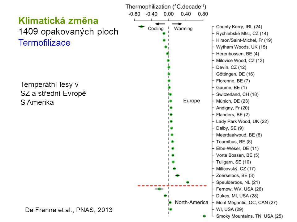 Klimatická změna 1409 opakovaných ploch Termofilizace De Frenne et al., PNAS, 2013 Temperátní lesy v SZ a střední Evropě S Amerika
