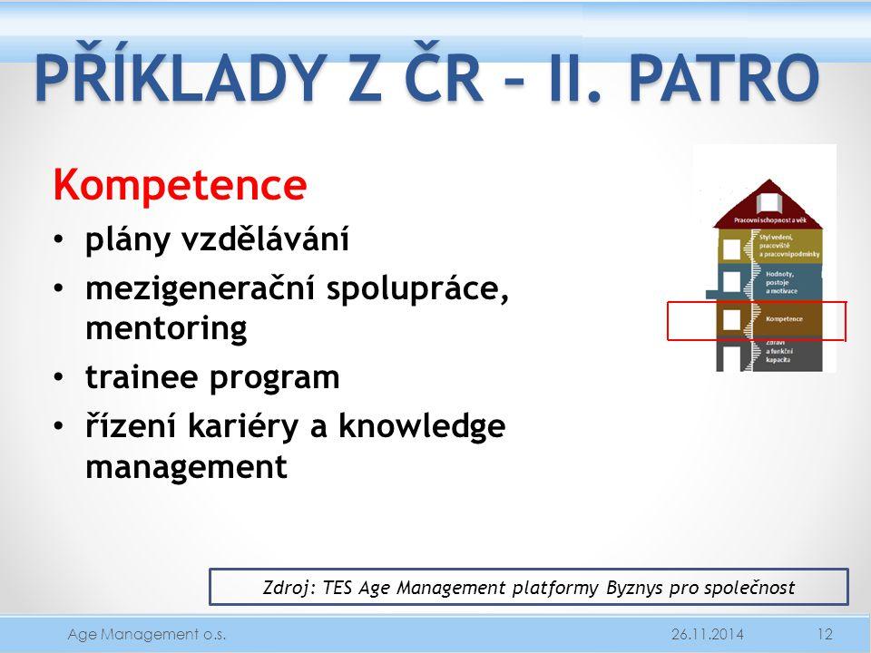 PŘÍKLADY Z ČR – II. PATRO Kompetence plány vzdělávání mezigenerační spolupráce, mentoring trainee program řízení kariéry a knowledge management 26.11.