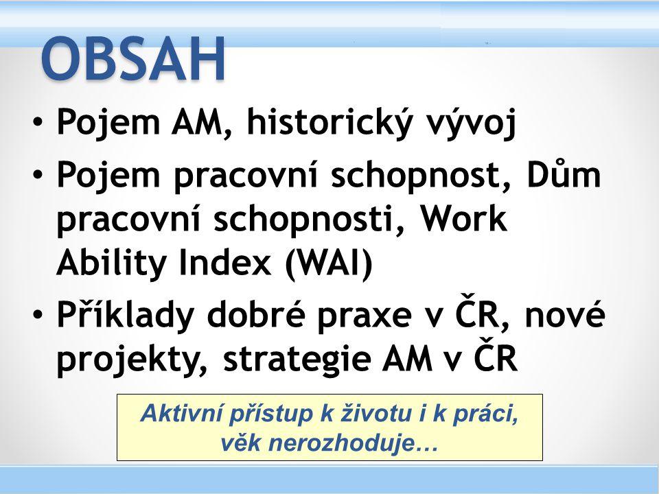Pojem AM, historický vývoj Pojem pracovní schopnost, Dům pracovní schopnosti, Work Ability Index (WAI) Příklady dobré praxe v ČR, nové projekty, strat