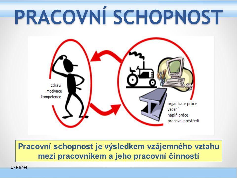 PRACOVNÍ SCHOPNOST Pracovní schopnost je výsledkem vzájemného vztahu mezi pracovníkem a jeho pracovní činností © FIOH