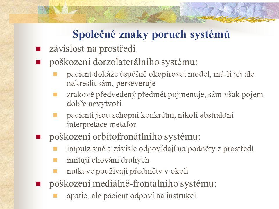 Společné znaky poruch systémů závislost na prostředí poškození dorzolaterálního systému: pacient dokáže úspěšně okopírovat model, má-li jej ale nakres