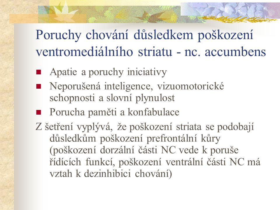 Poruchy chování důsledkem poškození ventromediálního striatu - nc. accumbens Apatie a poruchy iniciativy Neporušená inteligence, vizuomotorické schopn