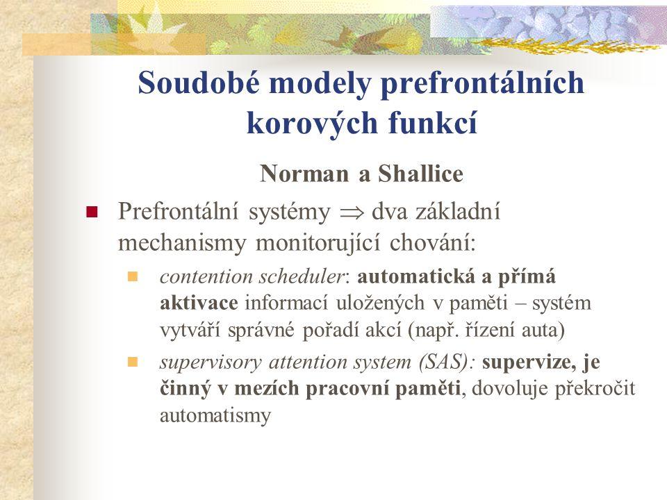 Soudobé modely prefrontálních korových funkcí Norman a Shallice Prefrontální systémy  dva základní mechanismy monitorující chování: contention schedu