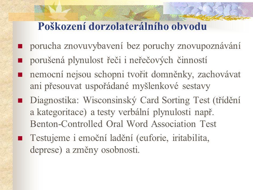 Poškození dorzolaterálního obvodu porucha znovuvybavení bez poruchy znovupoznávání porušená plynulost řeči i neřečových činností nemocní nejsou schopn