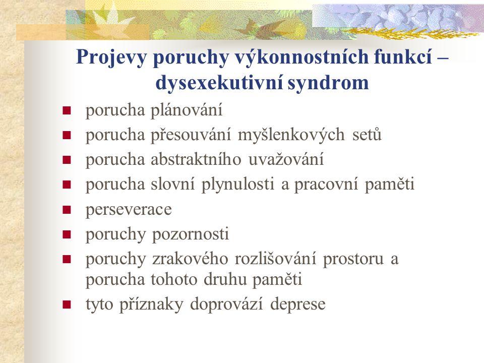 Projevy poruchy výkonnostních funkcí – dysexekutivní syndrom porucha plánování porucha přesouvání myšlenkových setů porucha abstraktního uvažování por