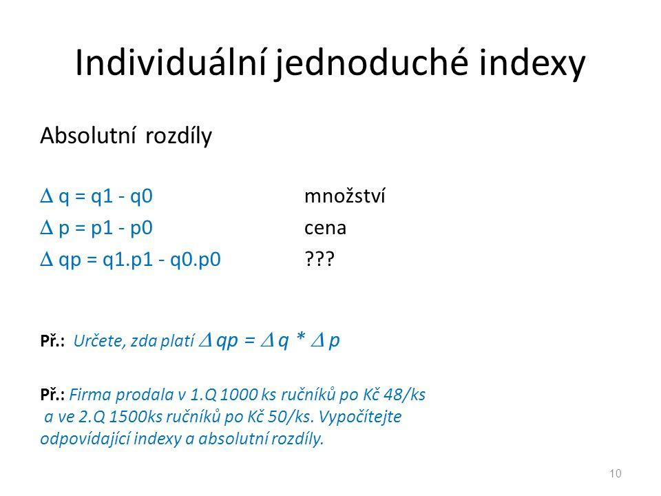 Individuální jednoduché indexy Absolutní rozdíly  q = q1 - q0množství  p = p1 - p0cena  qp = q1.p1 - q0.p0??.