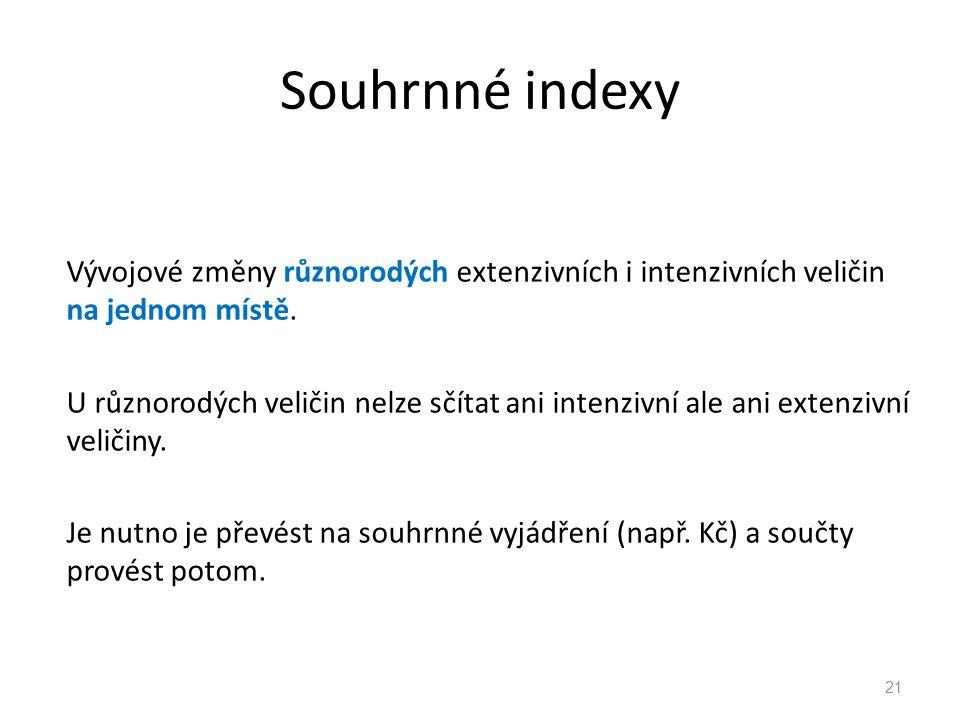 Souhrnné indexy Vývojové změny různorodých extenzivních i intenzivních veličin na jednom místě.