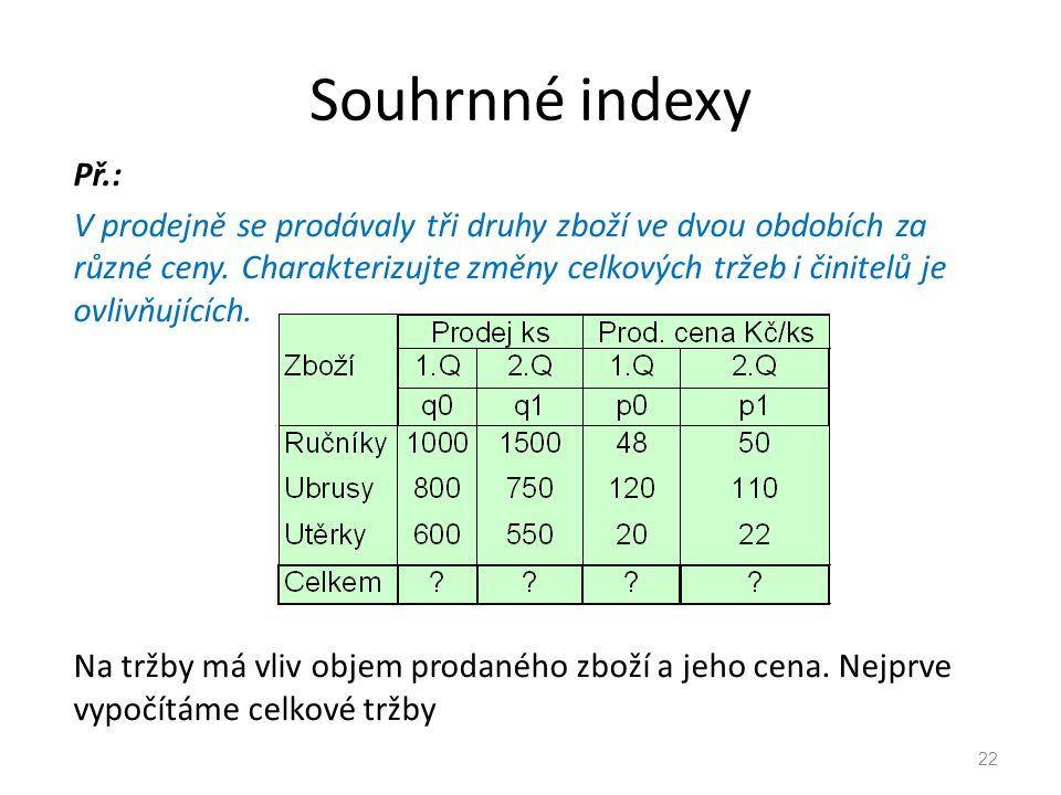 Souhrnné indexy Př.: V prodejně se prodávaly tři druhy zboží ve dvou obdobích za různé ceny.