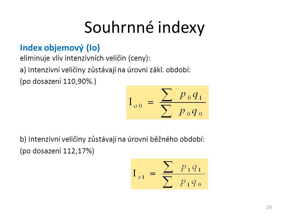 Souhrnné indexy Index objemový (Io) eliminuje vliv intenzivních veličin (ceny): a) Intenzivní veličiny zůstávají na úrovni zákl.