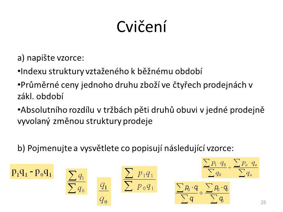 Cvičení a) napište vzorce: Indexu struktury vztaženého k běžnému období Průměrné ceny jednoho druhu zboží ve čtyřech prodejnách v zákl.