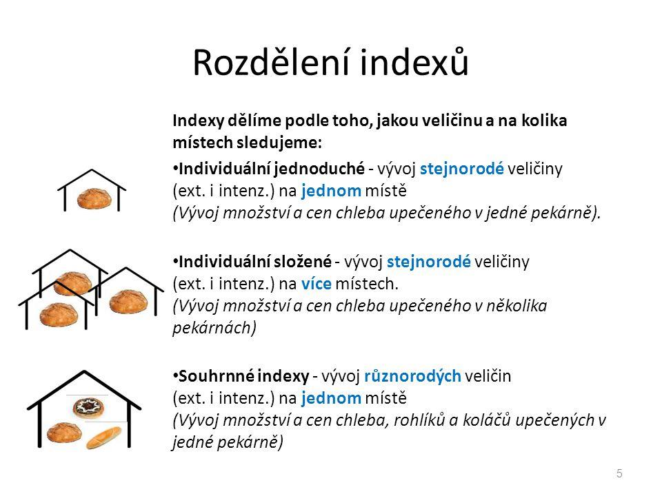 Rozdělení indexů Indexy dělíme podle toho, jakou veličinu a na kolika místech sledujeme: Individuální jednoduché - vývoj stejnorodé veličiny (ext.