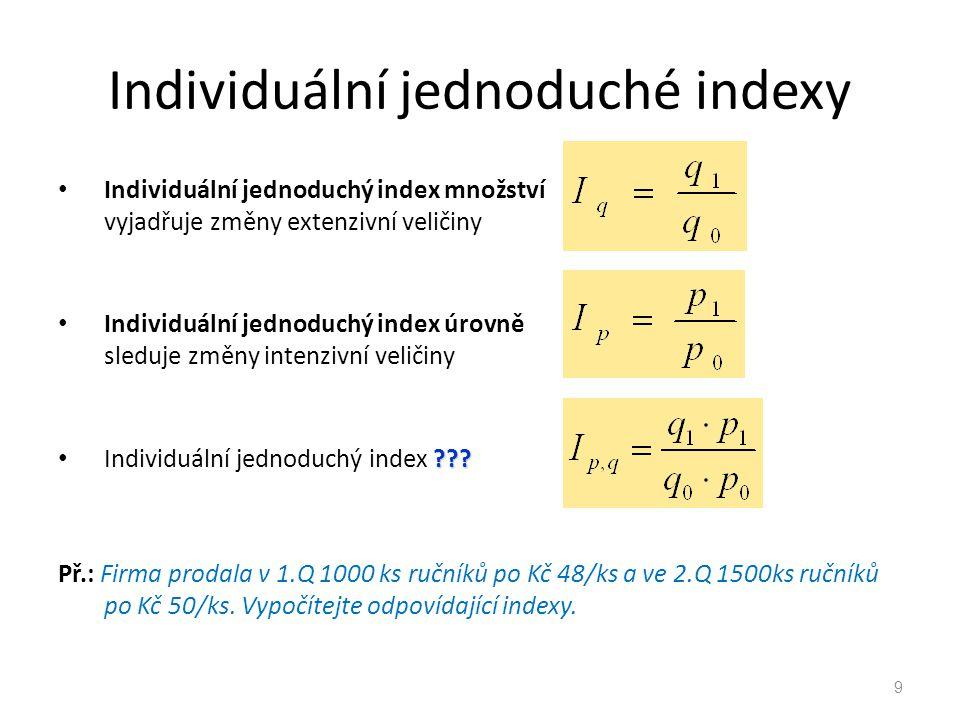 Individuální jednoduché indexy Individuální jednoduchý index množství vyjadřuje změny extenzivní veličiny Individuální jednoduchý index úrovně sleduje změny intenzivní veličiny ??.