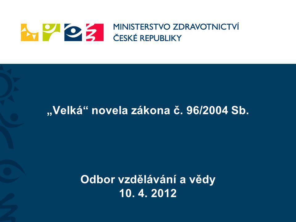 Vývoj novely/zákona - Návrh na úpravu vzdělávání zdravotnických pracovníků zpracoval Odbor vzdělávání a vědy a Pracovní komise k transformaci nelékařských zdravotnických povolání v České republice - Pan ministr se zpracovanými tezemi předloženými v srpnu 2011, včetně odstranění dvojkolejnosti, vyslovil souhlas - Návrhy byly během roku 2011 projednány na dílčích jednání se vzdělavateli a profesními organizacemi za účasti zástupců středního a vyššího a vysokého školství - podkladem byly statistické údaje a zohledněny názory profesních organizací - Projektový záměr byl zapracováván do paragrafového znění, změn je mnoho, proto je navrženo zpracování nového zákona - Plán - účinnost od března 2013 – návrh na změnu legislativního plánu