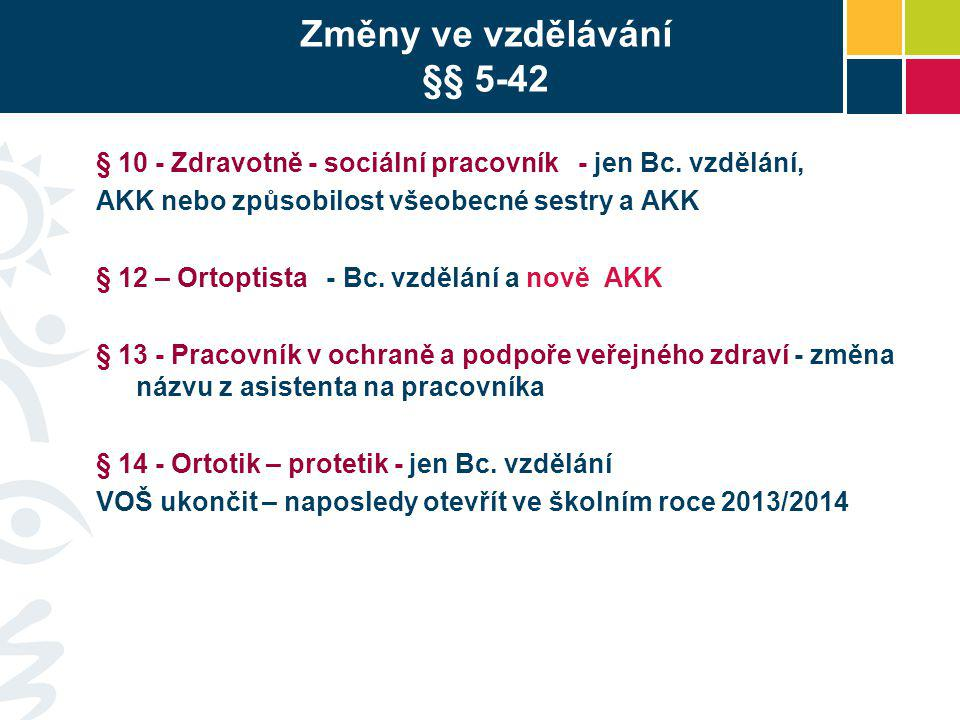Změny ve vzdělávání §§ 5-42 § 10 - Zdravotně - sociální pracovník - jen Bc. vzdělání, AKK nebo způsobilost všeobecné sestry a AKK § 12 – Ortoptista -