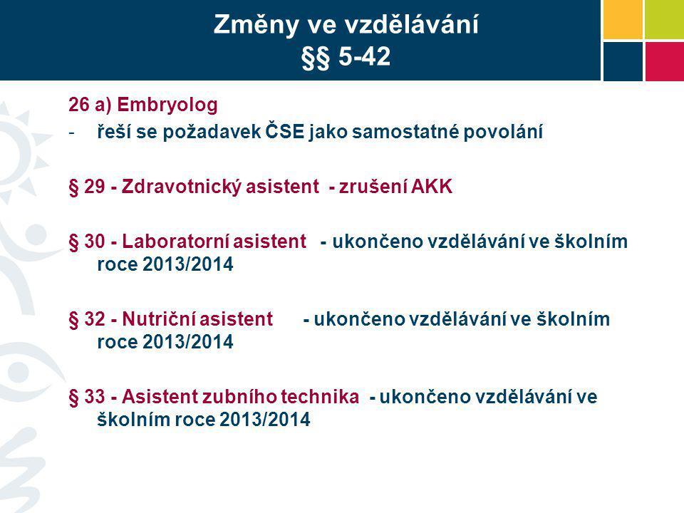 Změny ve vzdělávání §§ 5-42 26 a) Embryolog -řeší se požadavek ČSE jako samostatné povolání § 29 - Zdravotnický asistent - zrušení AKK § 30 - Laborato