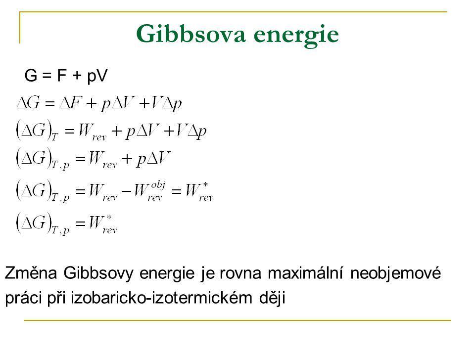 Gibbsova energie G = F + pV Změna Gibbsovy energie je rovna maximální neobjemové práci při izobaricko-izotermickém ději