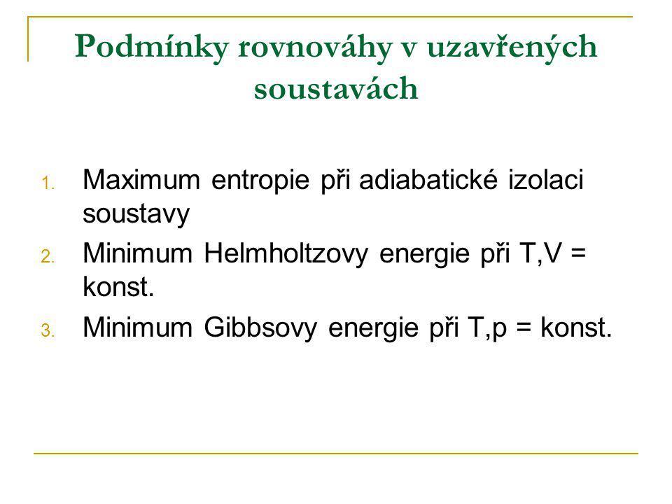 Podmínky rovnováhy v uzavřených soustavách 1. Maximum entropie při adiabatické izolaci soustavy 2. Minimum Helmholtzovy energie při T,V = konst. 3. Mi