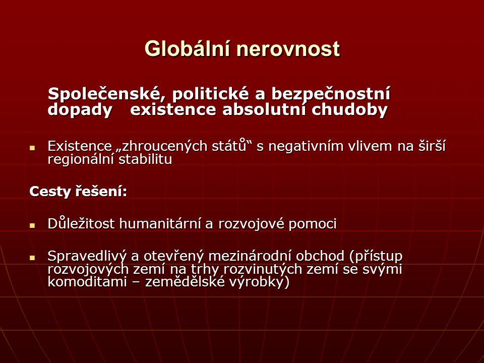 Globální nerovnost Společenské, politické a bezpečnostní dopady existence absolutní chudoby Společenské, politické a bezpečnostní dopady existence abs