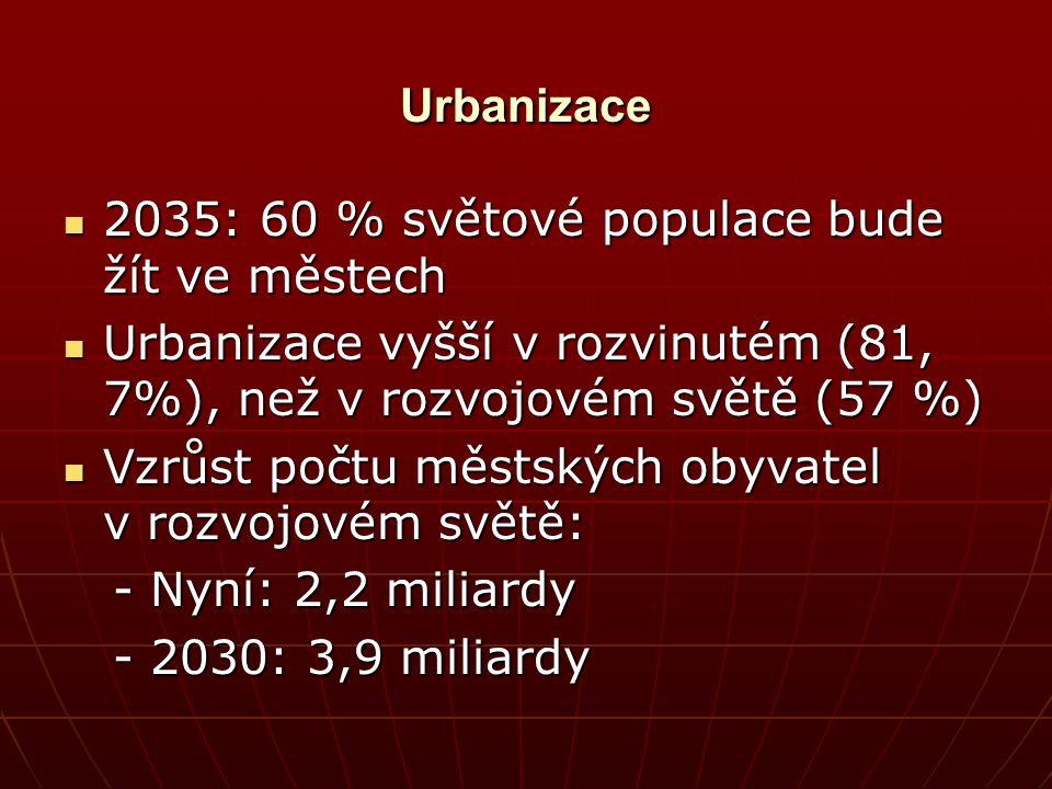 Urbanizace 2035: 60 % světové populace bude žít ve městech 2035: 60 % světové populace bude žít ve městech Urbanizace vyšší v rozvinutém (81, 7%), než