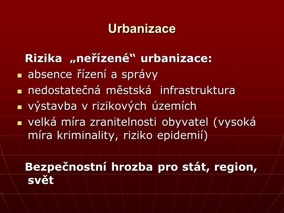 """Urbanizace Rizika """"neřízené"""" urbanizace: Rizika """"neřízené"""" urbanizace: absence řízení a správy absence řízení a správy nedostatečná městská infrastruk"""