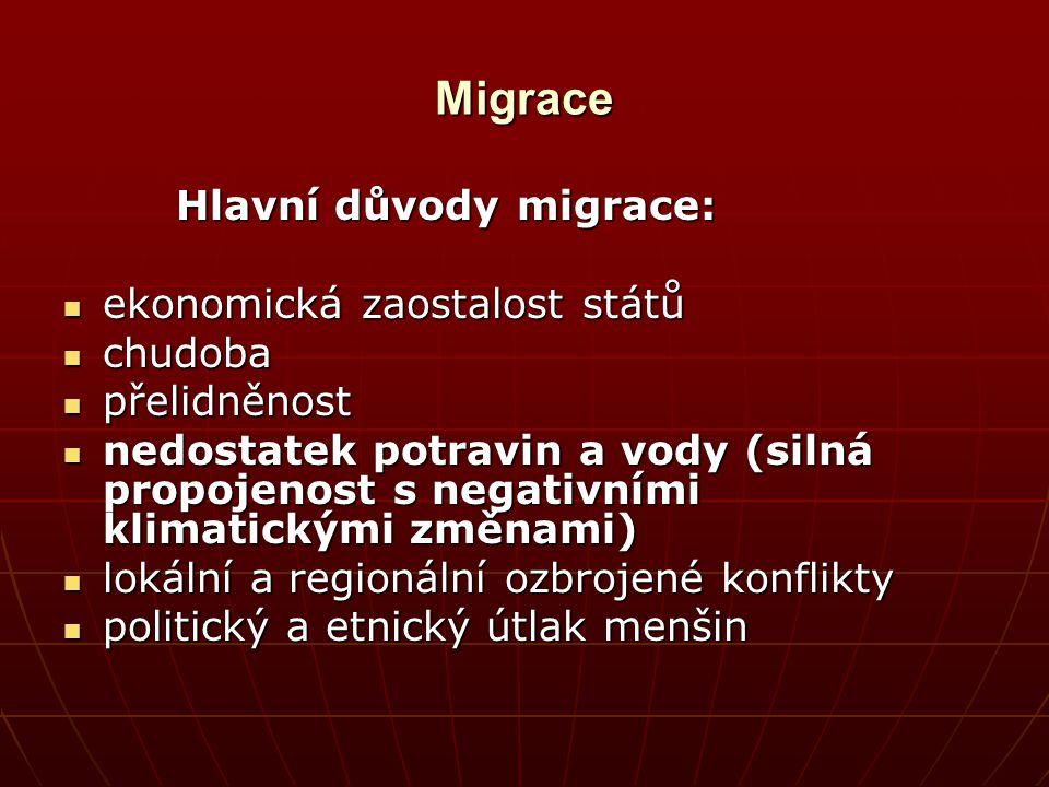 Migrace Hlavní důvody migrace: Hlavní důvody migrace: ekonomická zaostalost států ekonomická zaostalost států chudoba chudoba přelidněnost přelidněnos
