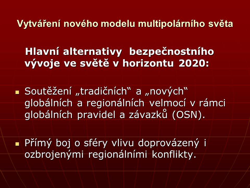 Vytváření nového modelu multipolárního světa Hlavní alternativy bezpečnostního vývoje ve světě v horizontu 2020: Hlavní alternativy bezpečnostního výv