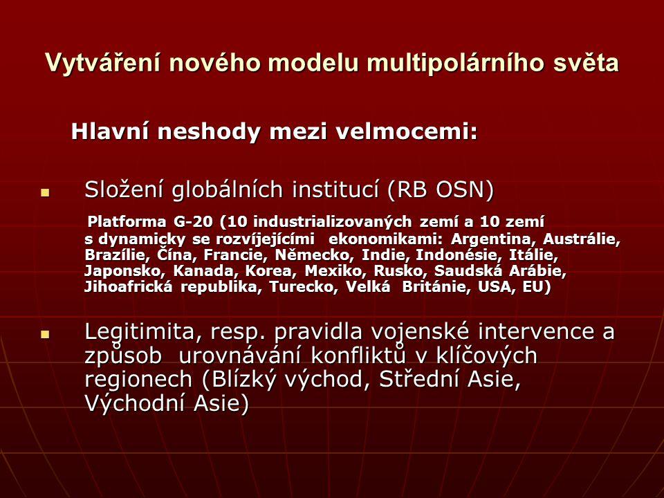 Vytváření nového modelu multipolárního světa Hlavní neshody mezi velmocemi: Hlavní neshody mezi velmocemi: Složení globálních institucí (RB OSN) Slože