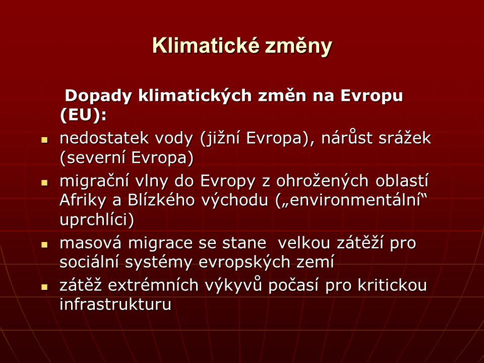 Klimatické změny Dopady klimatických změn na Evropu (EU): Dopady klimatických změn na Evropu (EU): nedostatek vody (jižní Evropa), nárůst srážek (seve