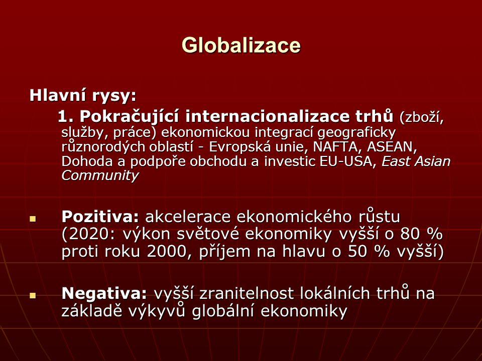 Globalizace Hlavní rysy: 1. Pokračující internacionalizace trhů (zboží, služby, práce) ekonomickou integrací geograficky různorodých oblastí - Evropsk