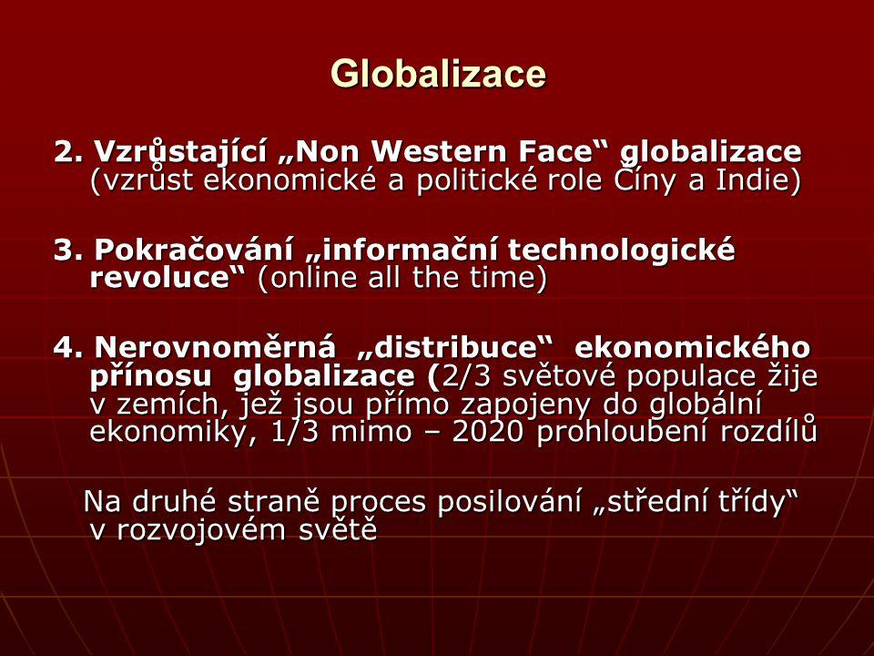 """Globalizace 2. Vzrůstající """"Non Western Face"""" globalizace (vzrůst ekonomické a politické role Číny a Indie) 3. Pokračování """"informační technologické r"""