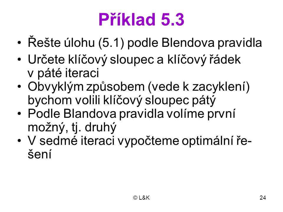 © L&K24 Příklad 5.3 Řešte úlohu (5.1) podle Blendova pravidla Určete klíčový sloupec a klíčový řádek v páté iteraci Obvyklým způsobem (vede k zacyklen