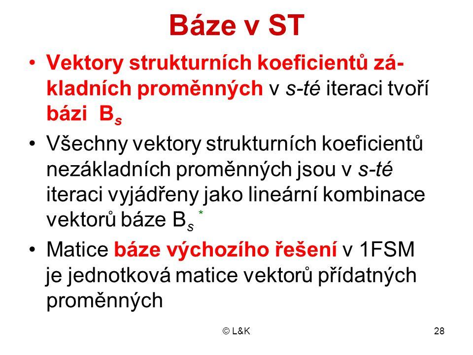 © L&K28 Báze v ST Vektory strukturních koeficientů zá- kladních proměnných v s-té iteraci tvoří bázi B s Všechny vektory strukturních koeficientů nezá