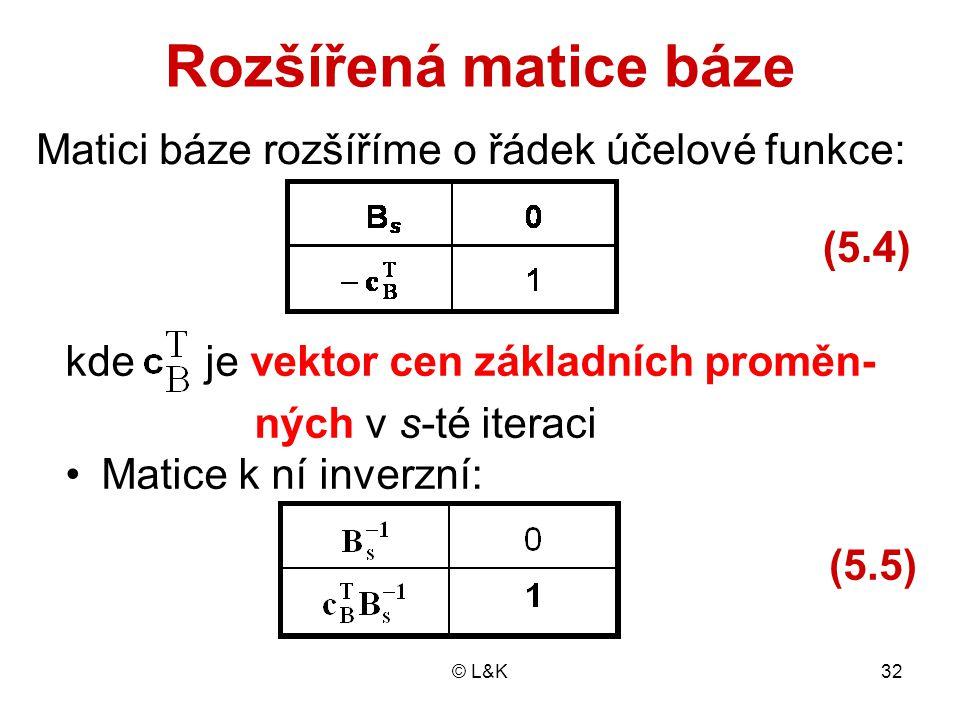 © L&K32 Rozšířená matice báze kde je vektor cen základních proměn- ných v s-té iteraci Matice k ní inverzní: Matici báze rozšíříme o řádek účelové fun