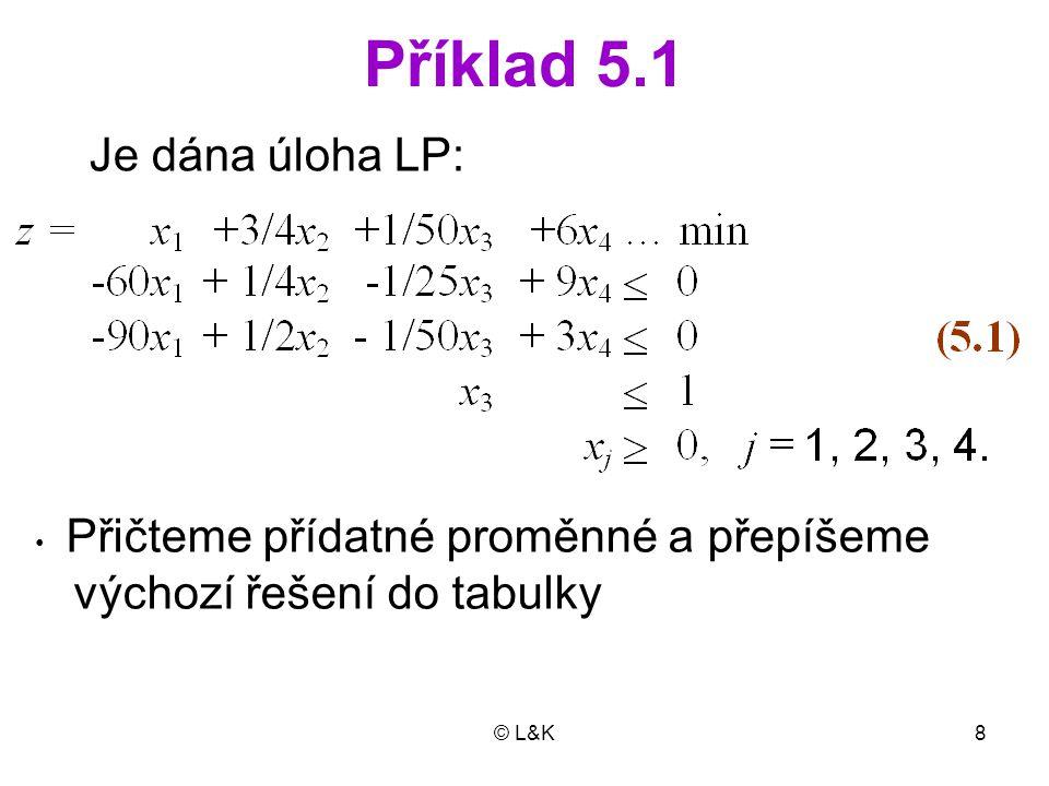 © L&K8 Příklad 5.1 Je dána úloha LP: Přičteme přídatné proměnné a přepíšeme výchozí řešení do tabulky