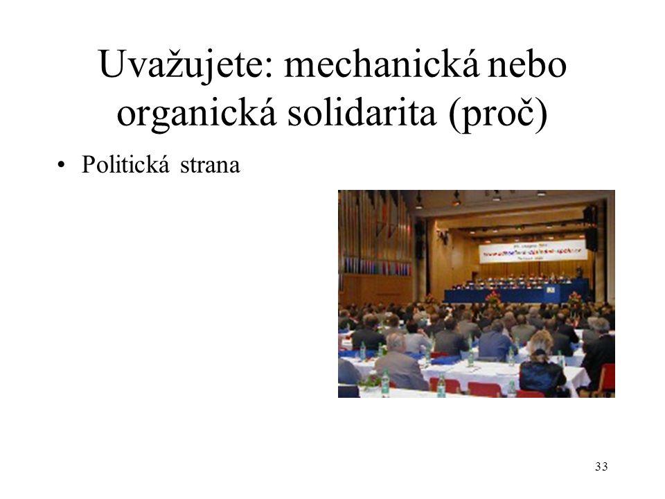 32 Uvažujete: mechanická nebo organická solidarita (proč) Skupinové mánie