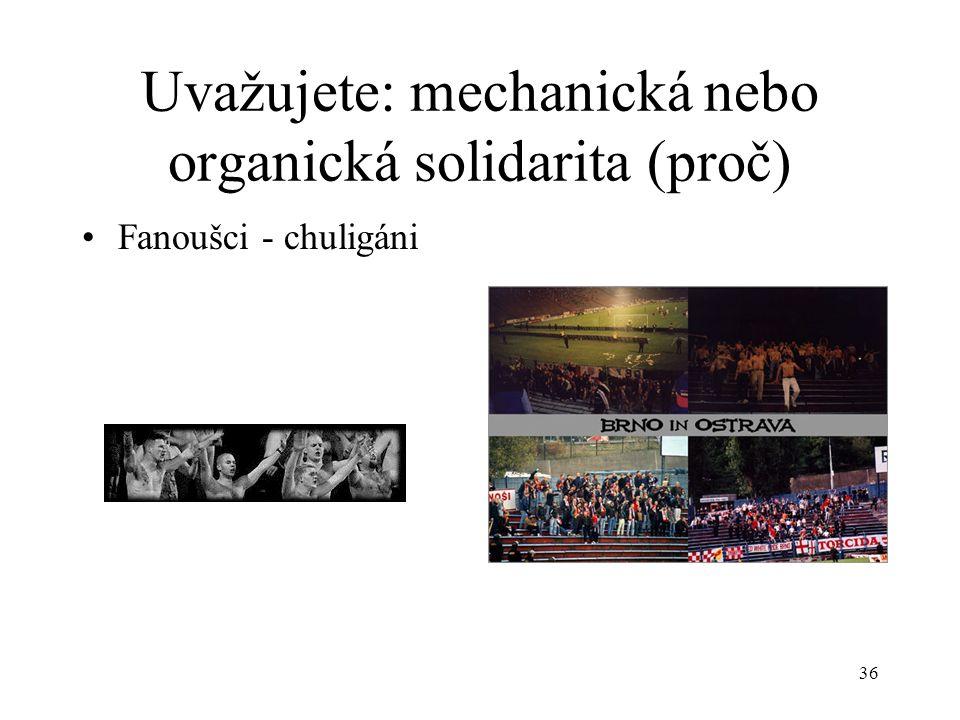 35 Uvažujete: mechanická nebo organická solidarita (proč) Universita