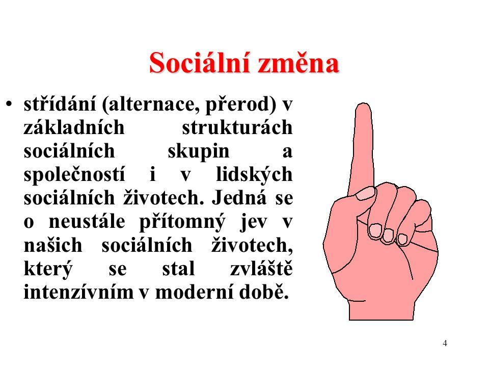 4 Sociální změna střídání (alternace, přerod) v základních strukturách sociálních skupin a společností i v lidských sociálních životech.