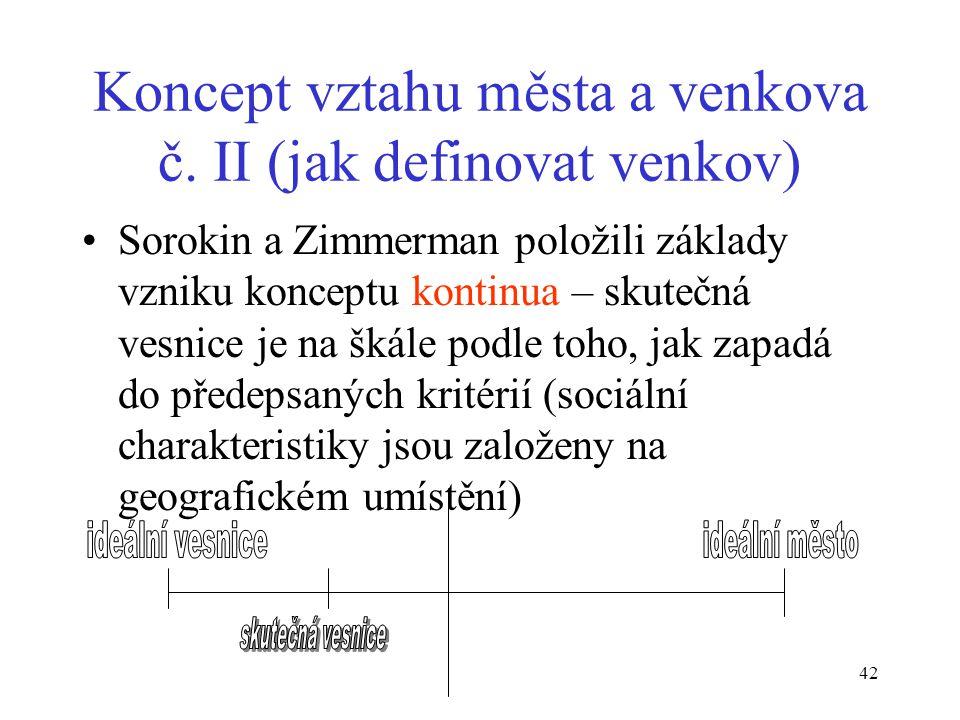 41 Sorokin a Zimmerman: Principy rurálně-urbánní sociologie (1929) Jak definovat městské a venkovské – rafinovaně zjemnělá Tönniesova dichotomie. Vych