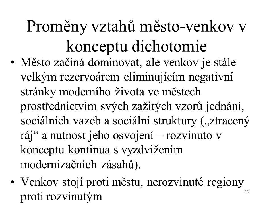 46 Koncepty vztahu město-venkov a jejich aplikace k praktické politice Dichotomie (od r. 1887 do 50. let 20. století) Konzervativní a tradicionalistic